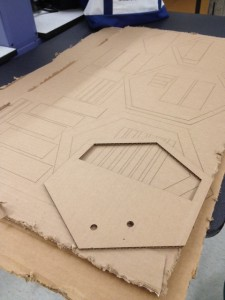 Laser cut cardboard bits for the plastic mold.