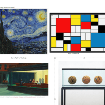 Four images illustrating major art theories