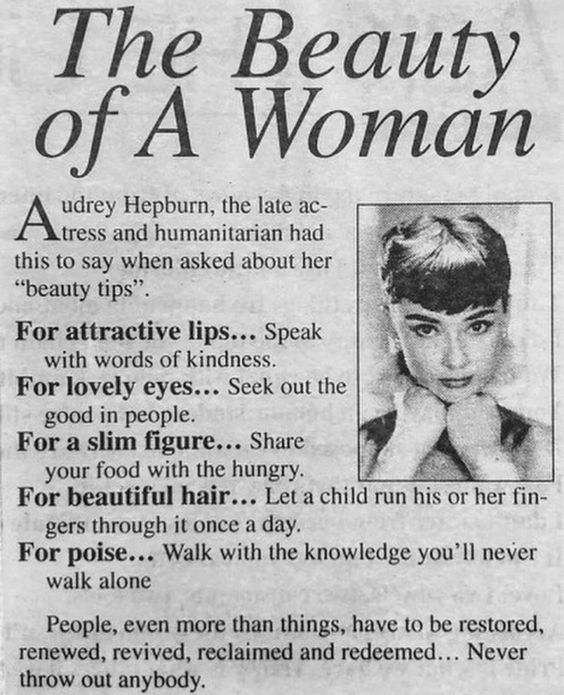 Newspaper Article of Hepburn's Inspirational Quotes