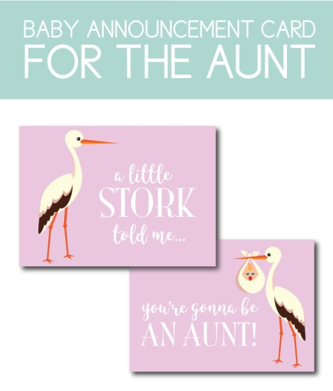 Baby Announcement Card for the Aunt-to-Be