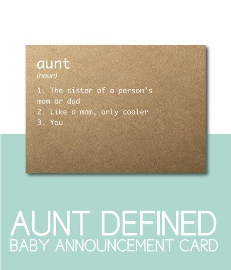 Aunt Defined Baby Announcement Card