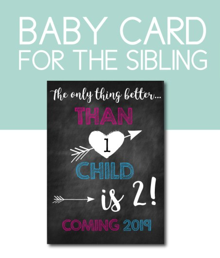 Baby Announcement Card for the New Sibling