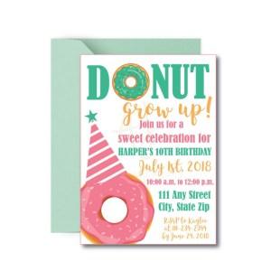 Donut Grow Up Birthday Party Invite