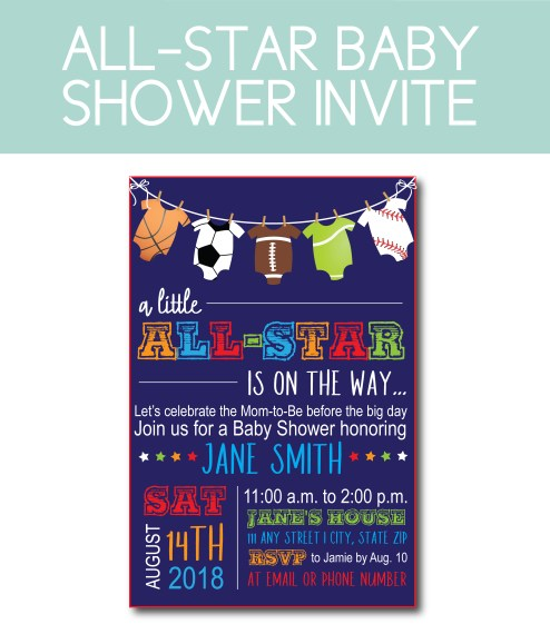 All-Star themed baby shower Invite