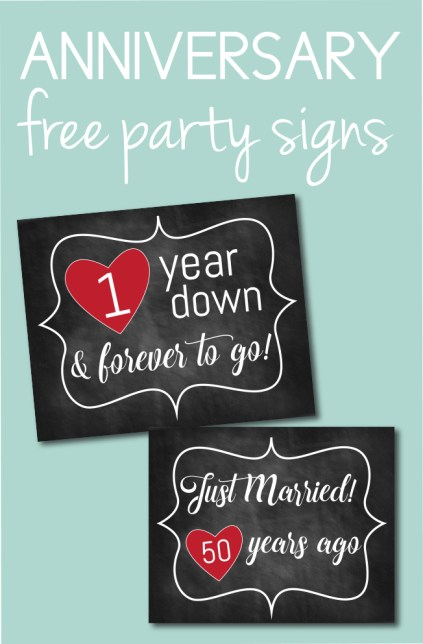 Free Anniversary Party Signs