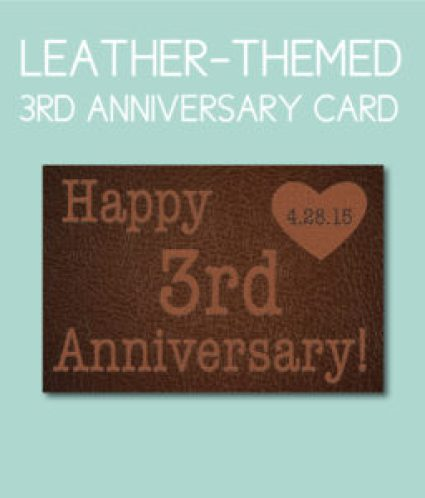 Leather Style 3rd Anniversary Card