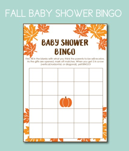 Baby BINGO Game for Fall Baby Shower