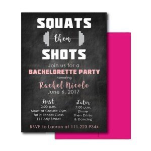 Fitness Themed Bachelorette Invite
