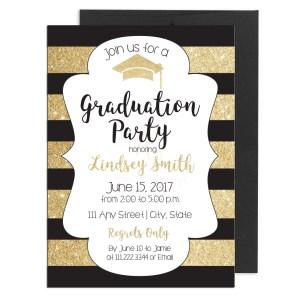 Gold and Black Stripe Graduation Invite