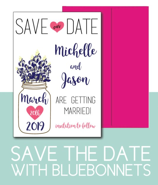 Bluebonnet Save the Date for a Spring Wedding