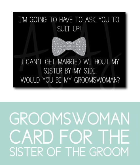 Sister of the Groom Card for the Groomswoman