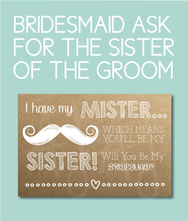 Bridesmaid Card for the Sister of the Groom