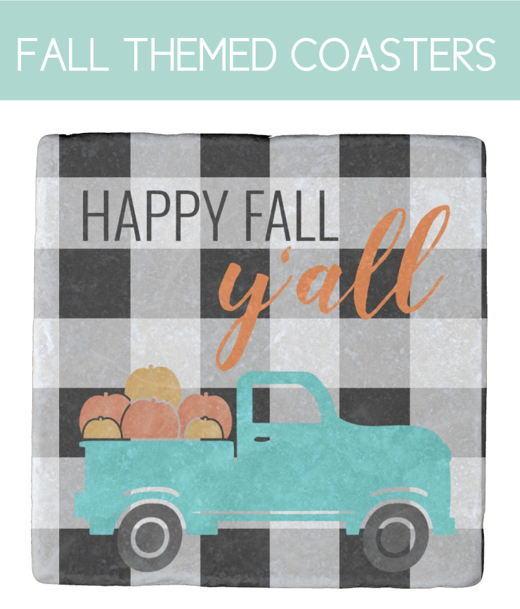 Happy Fall Y'all Coasters with buffalo check background