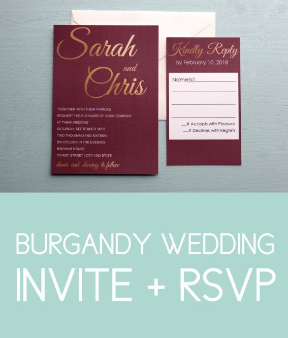 Maroon and Gold Wedding Invite