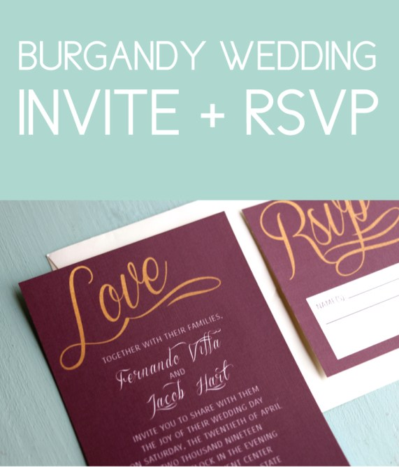 Burgundy Invite with Gold Lettering