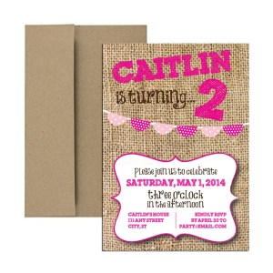 Burlap hot pink party invite