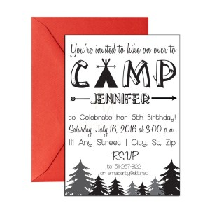 camping themed invite