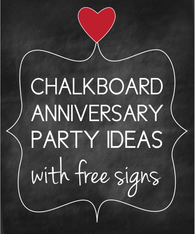 Chalkboard Anniversary Party Ideas with Free Signs