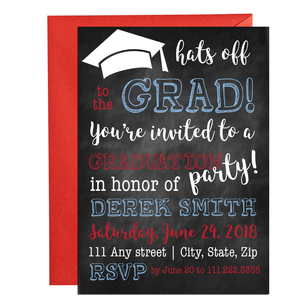 Chalkboard Graduation Invite + Envelopes -