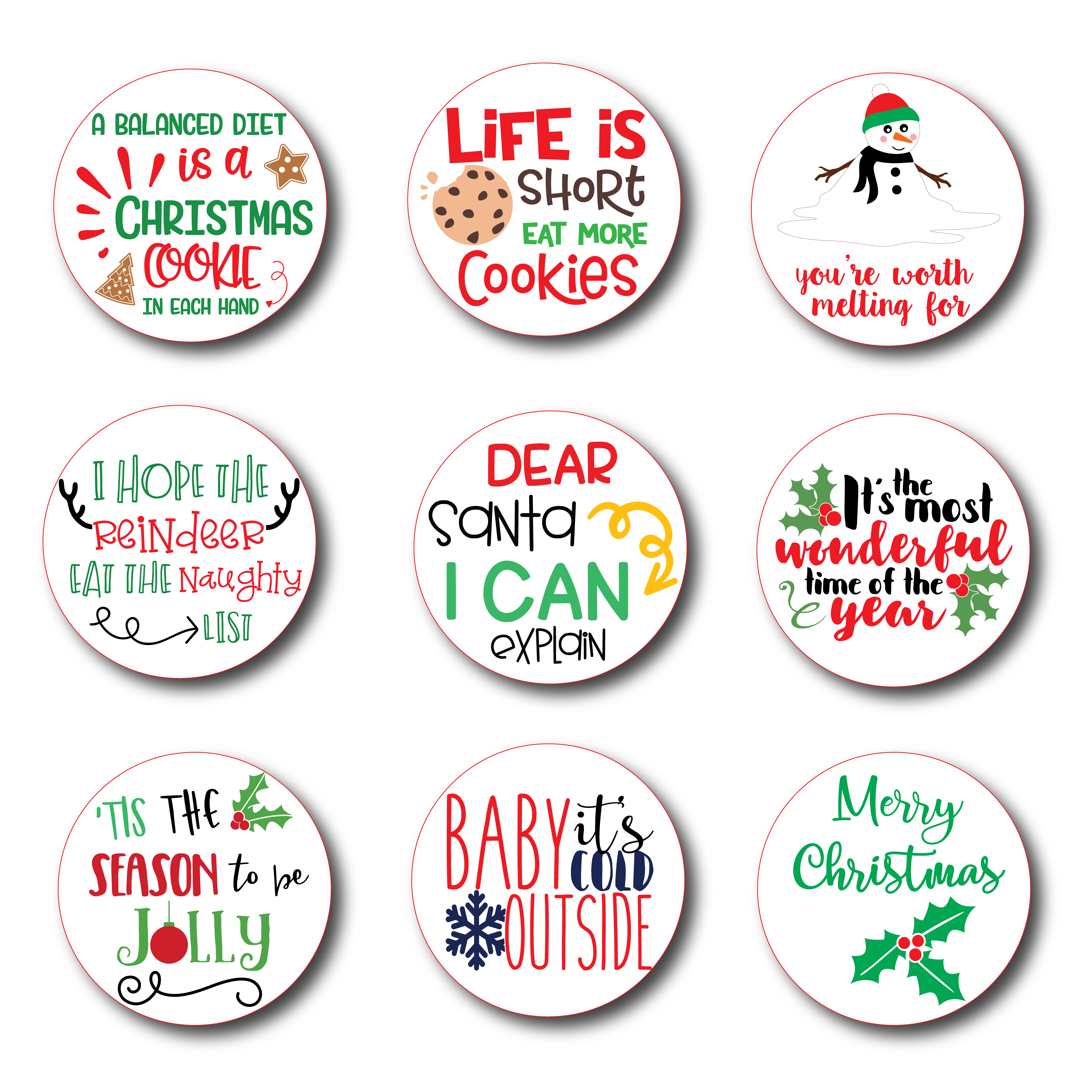picture about Printable Christmas Stickers called Printable Xmas Stickers Fixed of 9 Options Electronic History