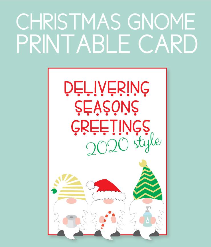 Christmas gnomes printable card