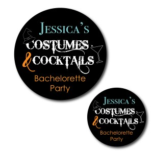 Costumes and Cocktails Bachelorette Stickers