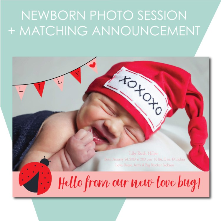 Newborn Photo Session with Matching Announcement