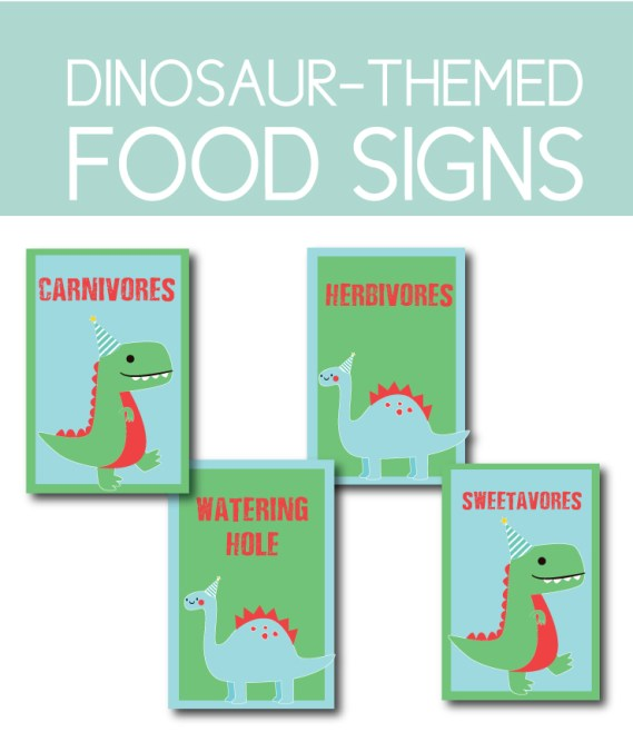 Fun Dinosaur Food Signs you can download instantly