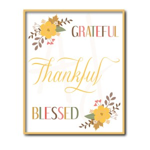 Floral Grateful Thankful Blessed Sign