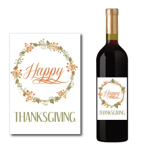 Floral Happy Thanksgiving Wine Bottle Label