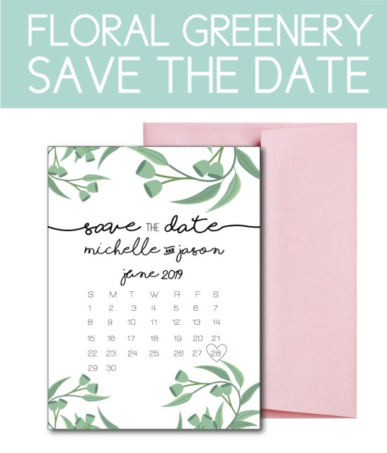 Simple Greenery Save the Date for a Garden Wedding