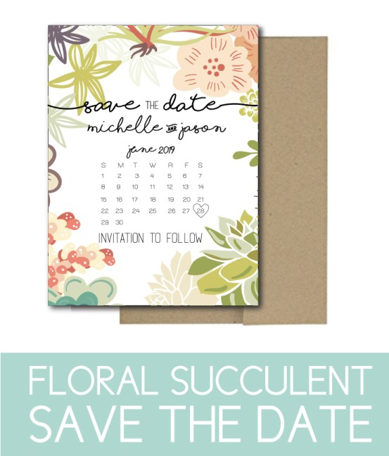 Simple Save the Date with Succulent Accents