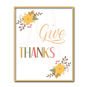 Floral Give Thanks Sign
