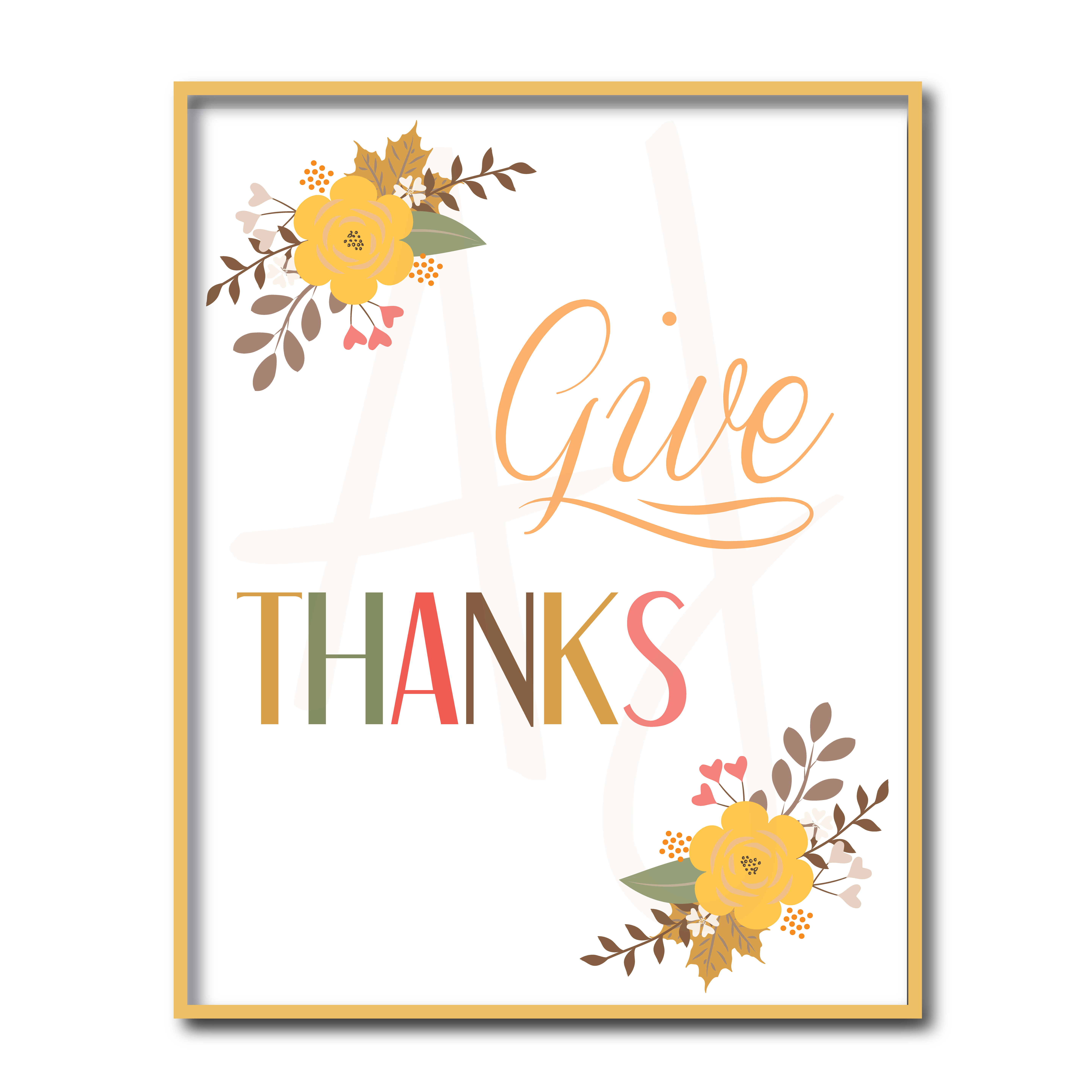 picture relating to Give Thanks Printable identify Floral Offer Due Signal Printable Electronic Document