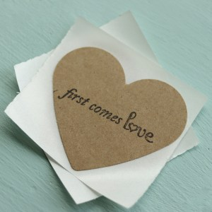First Comes Love Heart Stickers