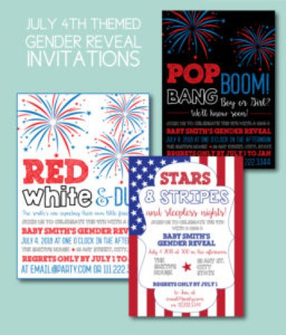 July 4th Gender Reveal Invites