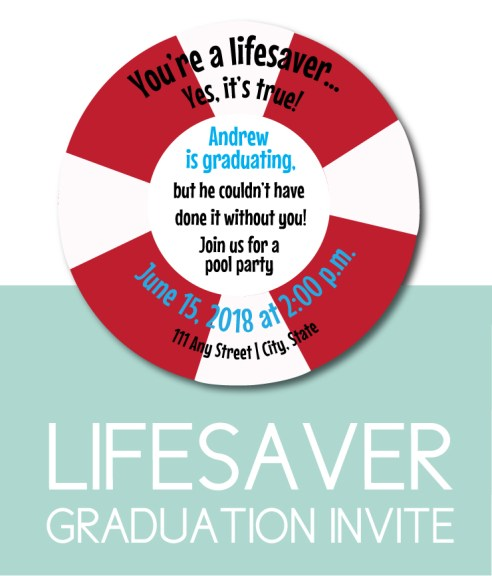 Lifesaver Themed Graduation Invite for a Pool Party
