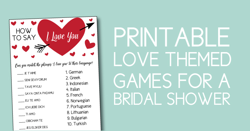 Couples Shower Games Perfect for the Valentine Bridal Shower -