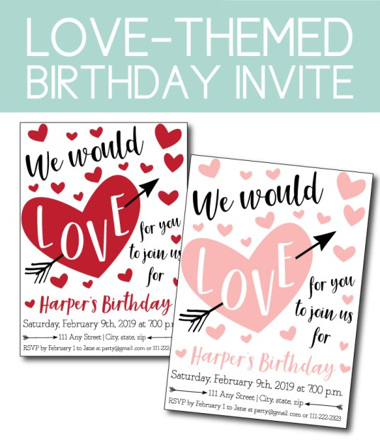 Love Themed Birthday Party Invite