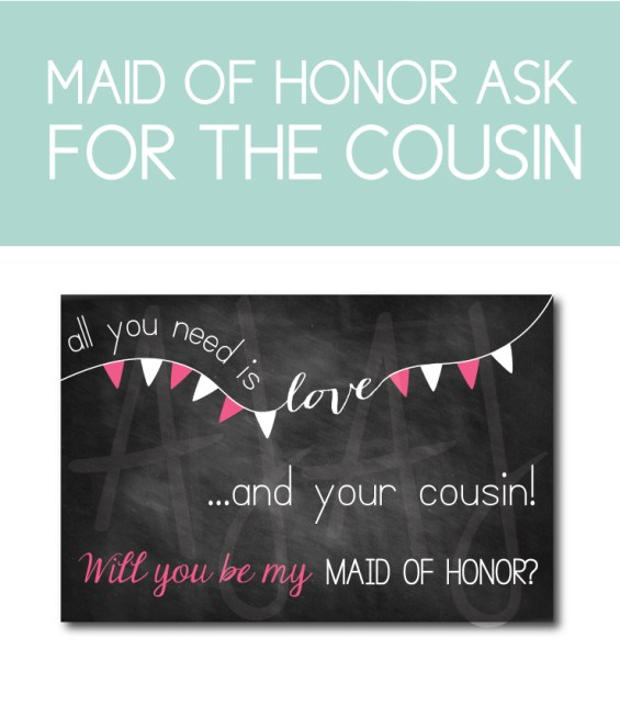 Cousin Card for the Maid of Honor Bridal Party Gift