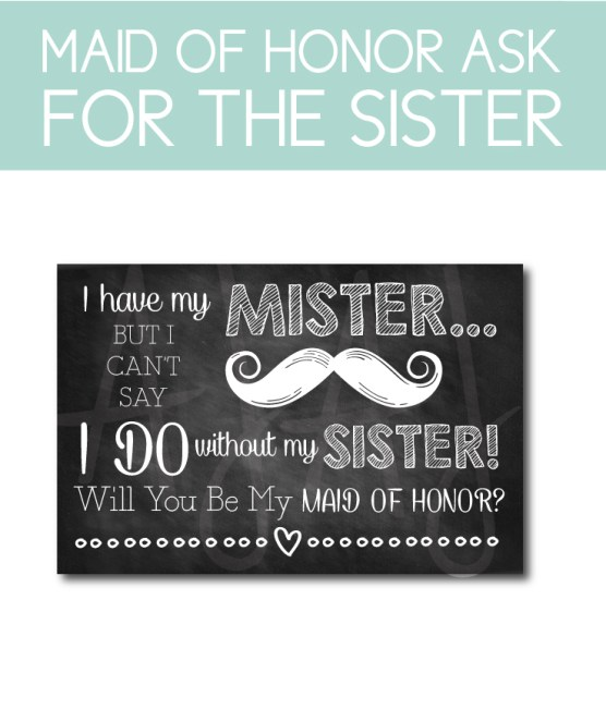Maid of Honor Ask Card for the Sister of the Bride