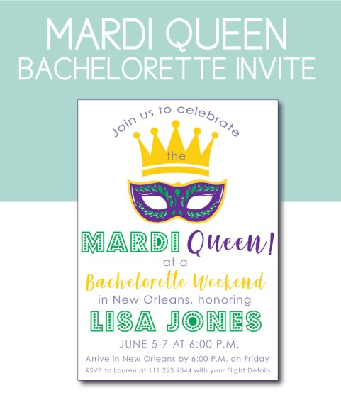 Mardi Queen Bachelorette Theme