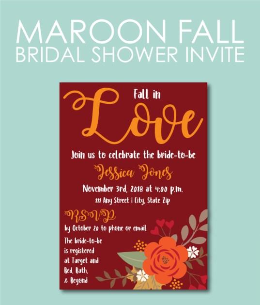 Maroon Fall Bridal Shower Invite