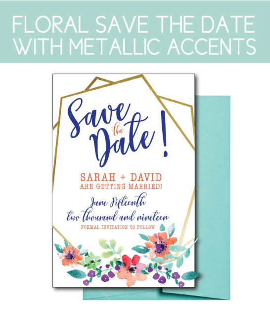 Floral Save the Date with Metallic Accents