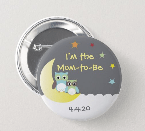 Storybook baby shower button for the mom to be.