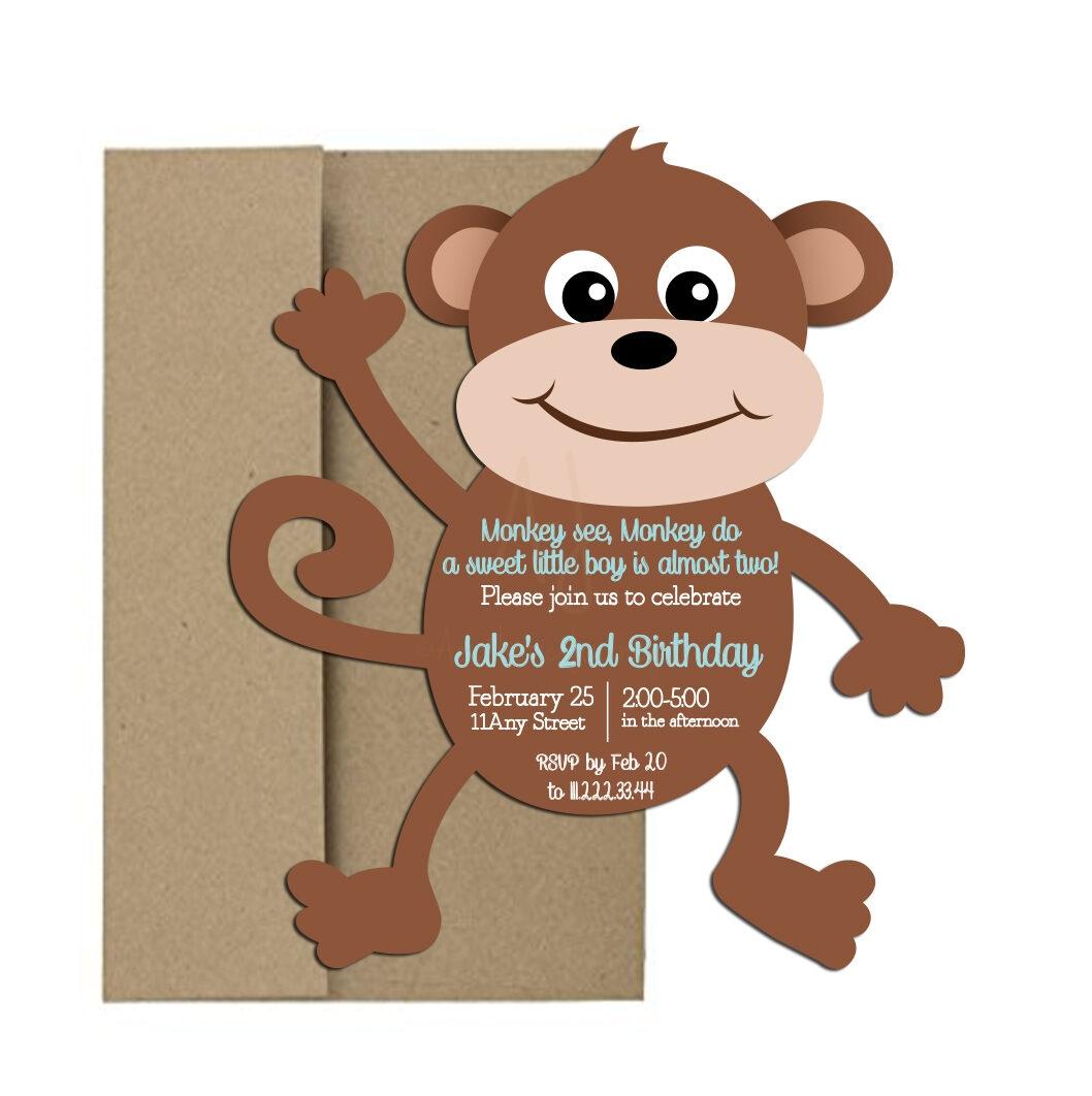 Monkey Shaped Party Invite
