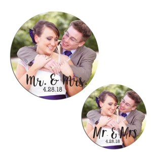 Custom Photo Mr. and Mrs. Stickers