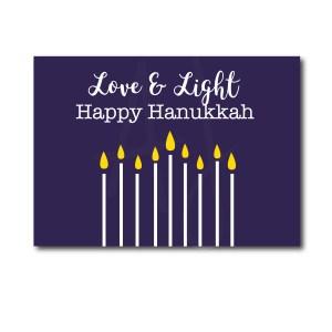 Navy Love and Light Hanukkah Card