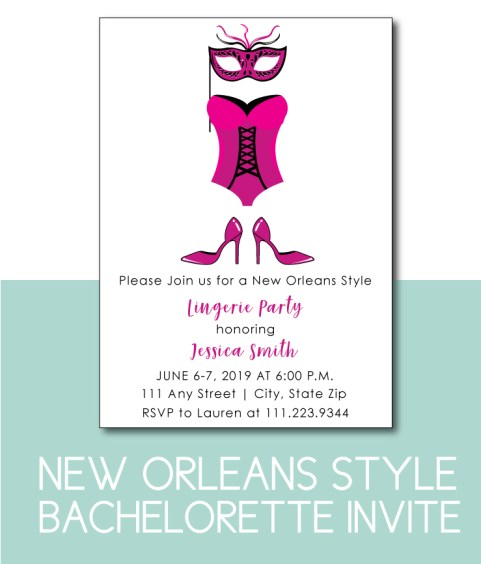 New Orleans Style Lingerie Party InviteNew Orleans Style Lingerie Party Invite