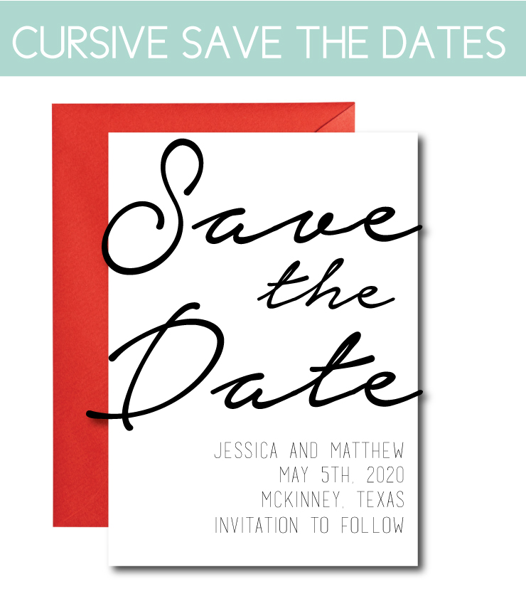 New Save the Dates with Script Font
